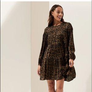 BANANA REPUBLIC leopard tiered dress